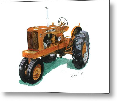 Allis Chalmers Tractor Metal Print featuring the painting Allis Chalmers Tractor by Ferrel Cordle