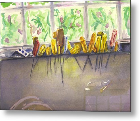 Tools Metal Print featuring the painting Al's Tools by Colleen Birch