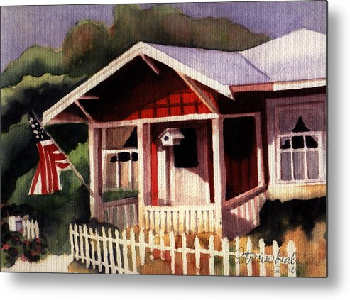 Watercolor Metal Print featuring the painting American Home by Patricia Halstead