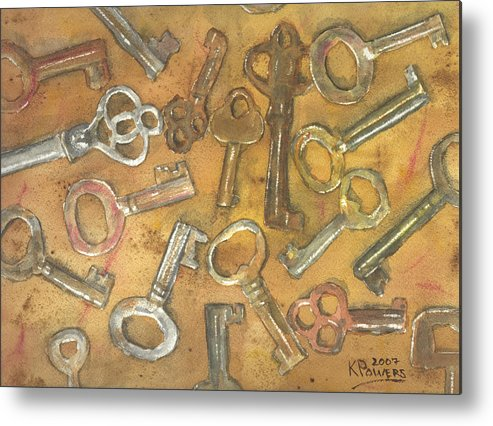 Skeleton Metal Print featuring the painting Assorted Skeleton Keys by Ken Powers