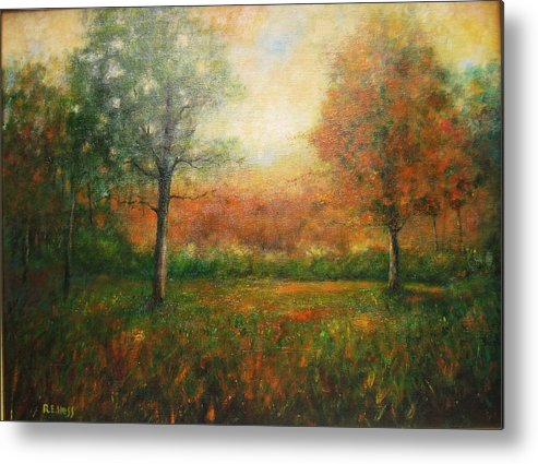 Metal Print featuring the painting Autumn Field by Robert Hess