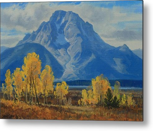 Metal Print featuring the painting Autumn-willow Flats by Lanny Grant