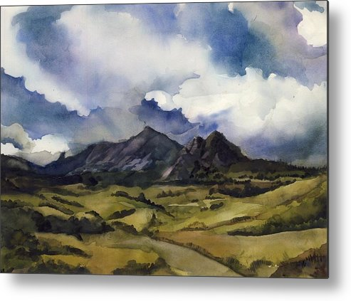 Landscape Metal Print featuring the painting Bear Mountain Colorado by Alfred Ng