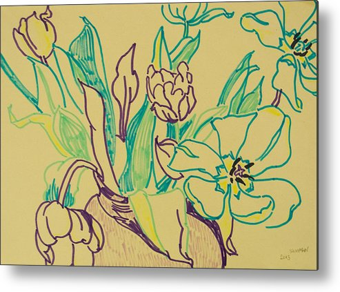 Tulip Metal Print featuring the drawing Beautiful Tulips by Vitali Komarov