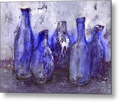 Still Life Metal Print featuring the painting Blue Bottles by Agnes Trachet