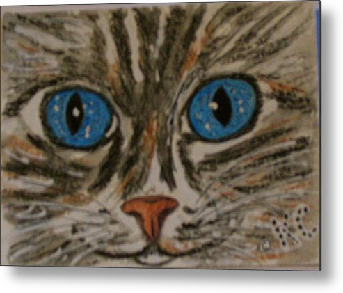 Blue Eyes Metal Print featuring the painting Blue Eyed Tiger Cat by Kathy Marrs Chandler