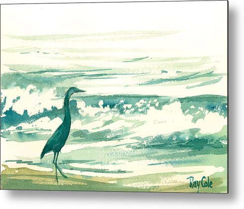 Blue Heron At The Water\ Metal Print featuring the painting Blue Heron by Ray Cole