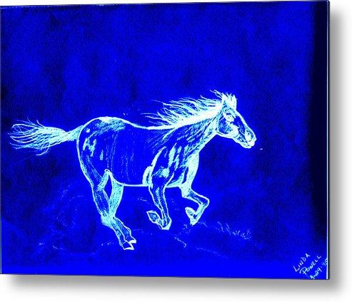 Digital Print Blue Horse Pencil Drawing Original Metal Print featuring the digital art Blue Horse by Linda Powell