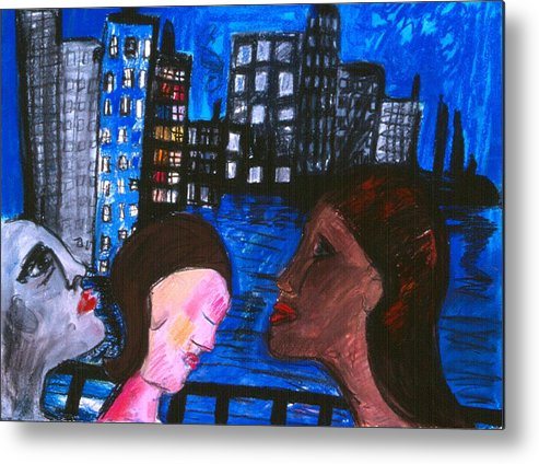 People Wander Along A City Promenade At Night Metal Print featuring the drawing Blue Promenade by Nina Talbot
