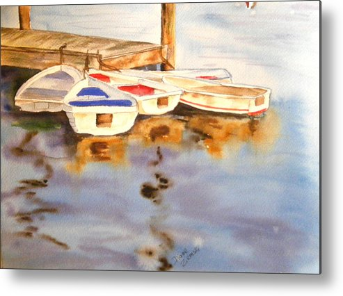 Boats Metal Print featuring the painting Boats by Diane Ziemski