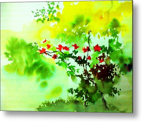 Floral Metal Print featuring the painting Boganwel by Anil Nene