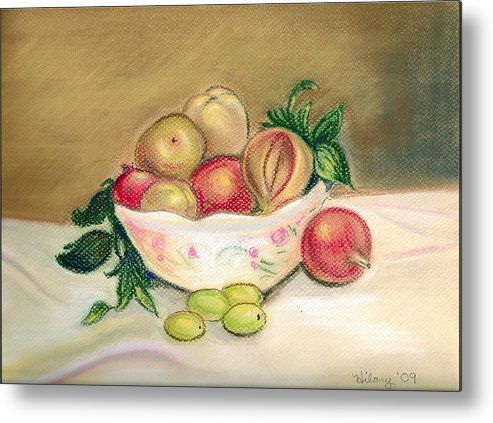 Pastel Impressionist Artwork Painting Renoir Fruit Stilllife Floral Metal Print featuring the painting Bowl Of Renoir by Hilary England