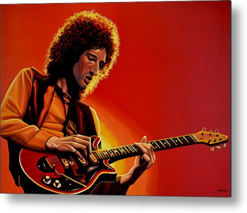 Brian May Metal Print featuring the painting Brian May Of Queen Painting by Paul Meijering