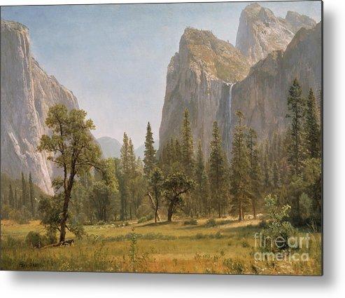 Bridal Metal Print featuring the painting Bridal Veil Falls Yosemite Valley California by Albert Bierstadt