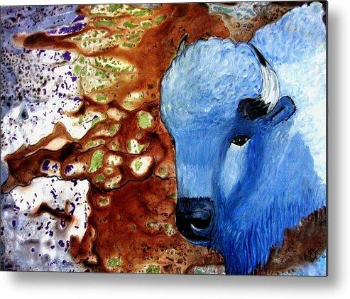 Buffalos Metal Print featuring the painting Buffalo Dreams by Liz Borkhuis