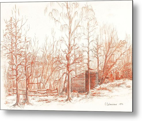 Landscape Metal Print featuring the drawing Bullion by Muriel Dolemieux