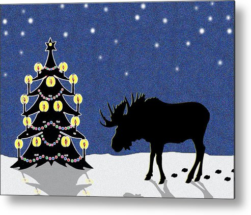 Moose Metal Print featuring the digital art Candlelit Christmas Tree And Moose In The Snow by Nancy Mueller