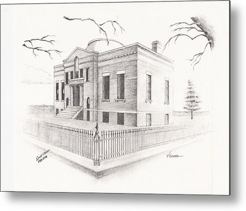 Architecture Metal Print featuring the painting Carnegie Library Mitchell South Dakota by Buffalo Dick Vance