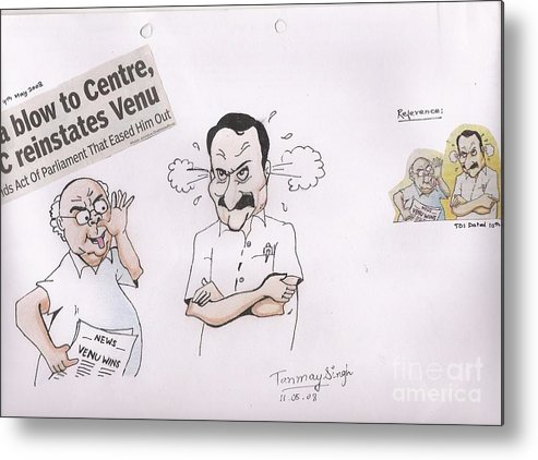 Indian Politician Drawing Metal Print featuring the painting Cartoon by Tanmay Singh
