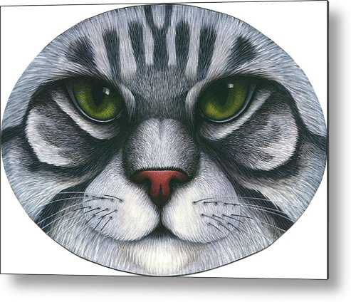 Gray Tabby Cat Metal Print featuring the painting Cat Oval Face by Carol Wilson