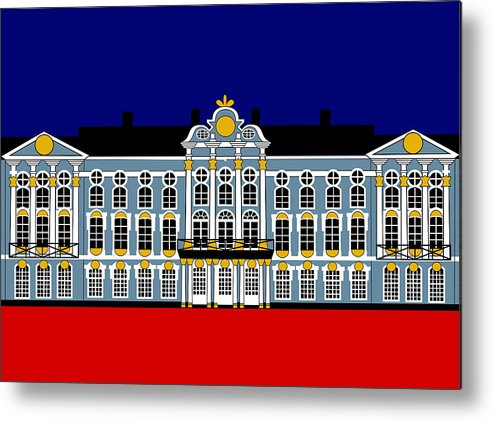 Catherine's Palace Metal Print featuring the digital art Catherines Palace Inspiration - Katharinenhof Inspiration St Petersburg Russia by Asbjorn Lonvig