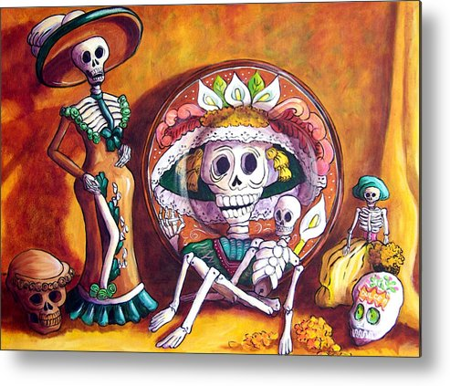 Still Life Metal Print featuring the painting Catrina Still Life by Candy Mayer