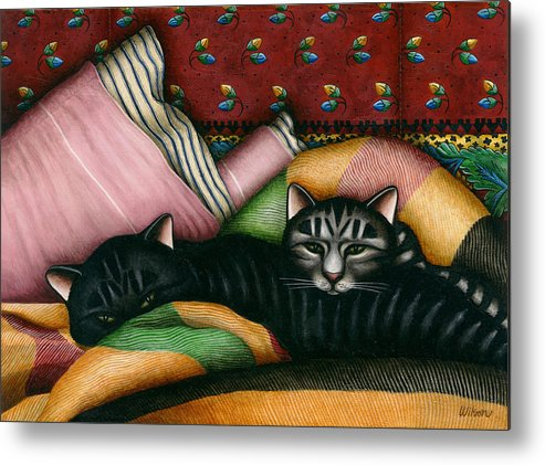 Black Cat Metal Print featuring the painting Cats With Pillow And Blanket by Carol Wilson