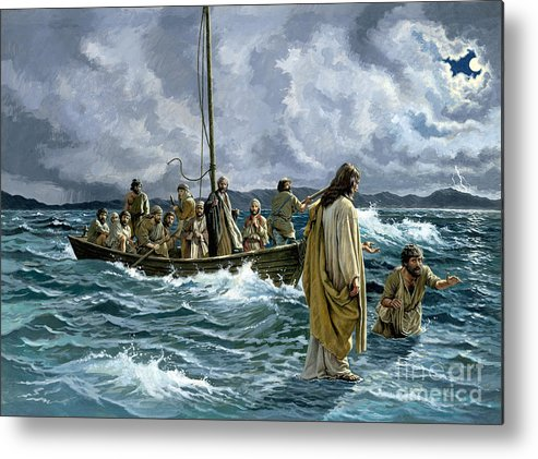 Christ Metal Print featuring the painting Christ Walking On The Sea Of Galilee by Anonymous