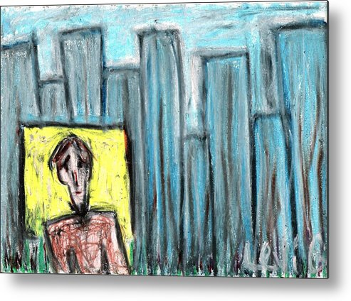 Blue Metal Print featuring the pastel City Roots by Levi Glassrock