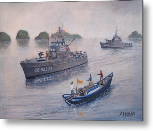 Marine Art Metal Print featuring the painting Coast Guard Cutters Pt Hudson And Pt Grace In Vietnam by William H RaVell III