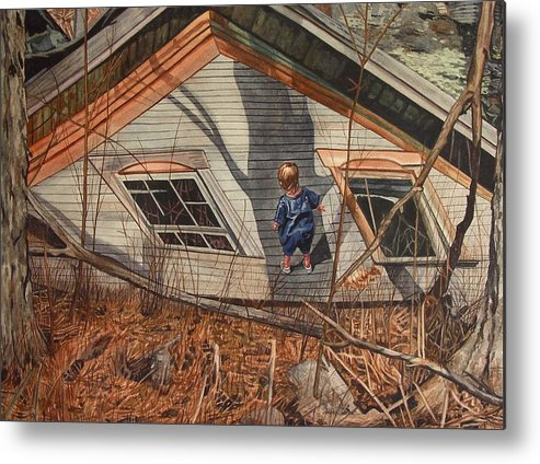 Children Metal Print featuring the painting Collapsed by Valerie Patterson