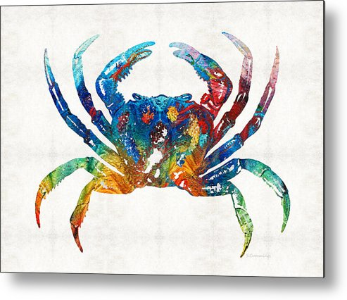 Crab Metal Print featuring the painting Colorful Crab Art By Sharon Cummings by Sharon Cummings