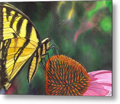Butterfly Metal Print featuring the painting Cone Flower by Catherine G McElroy