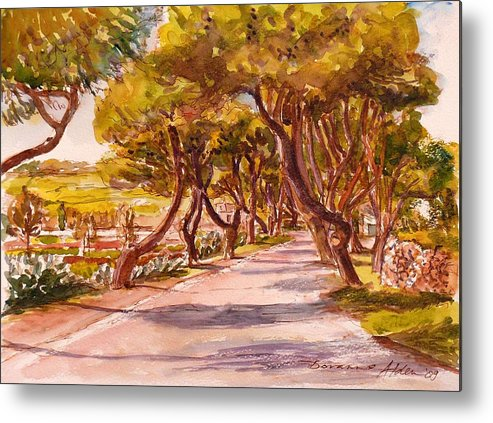 Landscape Metal Print featuring the painting Country Lane by Doranne Alden