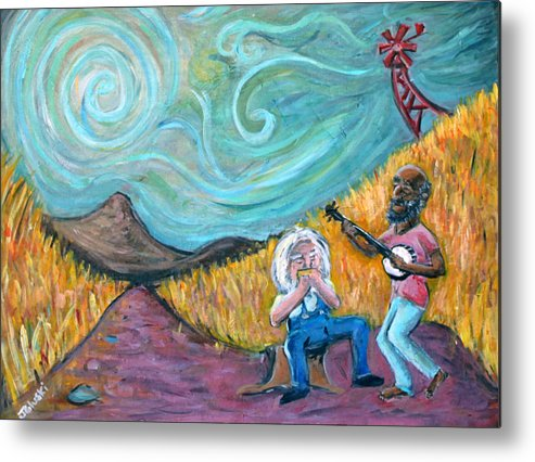 Country Music South Old Man Banjo Van Gogh Corn Field Metal Print featuring the painting Country Music by Jason Gluskin