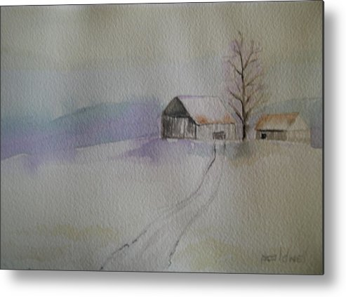 Barn Snow Winter Tree Landscape Cold Metal Print featuring the painting Country Snow by Patricia Caldwell