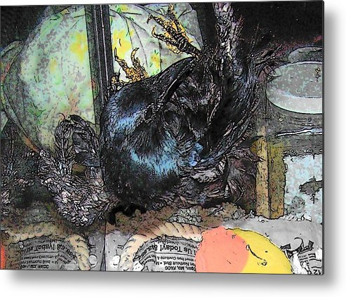 Crow Metal Print featuring the mixed media Crow Mid Flip by YoMamaBird Rhonda