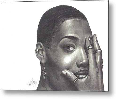 Woman Metal Print featuring the drawing Crystal Blaque by Charlene Cooper