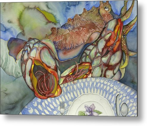 Sea Metal Print featuring the painting Cuttlefish Anyone by Liduine Bekman