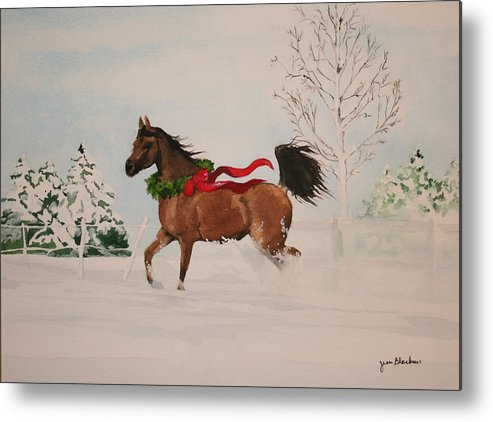 Horse Metal Print featuring the painting Dashing Thru The Snow by Jean Blackmer
