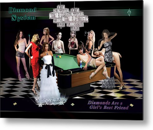 Pool Metal Print featuring the digital art Diamond System by Draw Shots