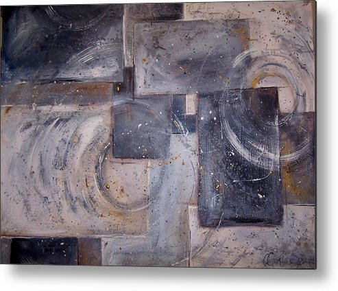 Abstract Metal Print featuring the painting Dimensional Disarray Commissioned Sold by Amanda Sanford