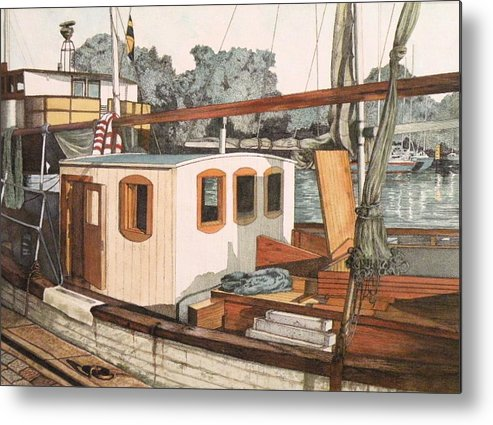 Boat Metal Print featuring the mixed media Docked In Stockholm Harbor by Wendy Hill