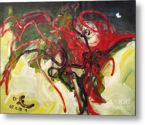 Abstract Paintings Paintings Abstract Art Paintings Metal Print featuring the painting Don't Bother Me by Seon-Jeong Kim