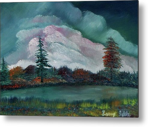 Water Metal Print featuring the painting Down At The Pond by Larry Idle