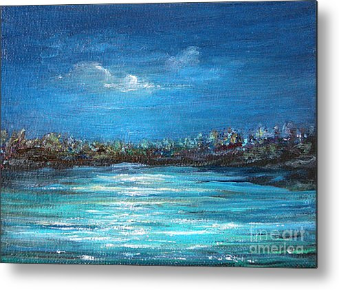 Seascape Metal Print featuring the painting Dream Night by Jeannette Ulrich