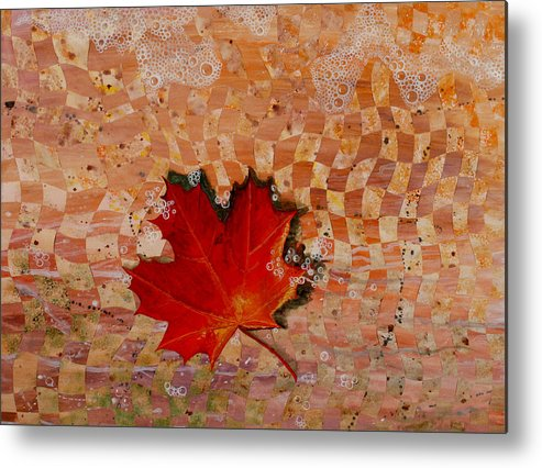 Maple Leave Metal Print featuring the painting Drifting by Linda L Doucette