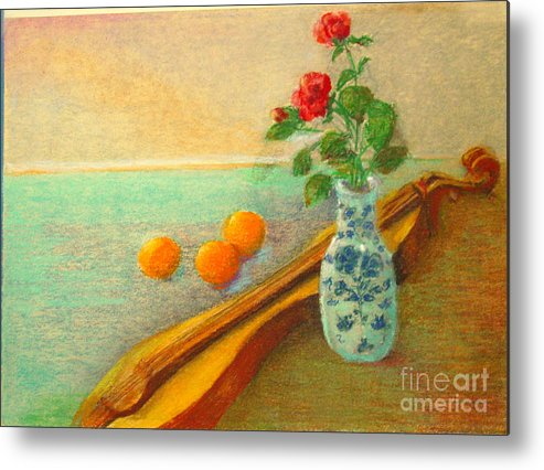 Still Life Metal Print featuring the painting Dulcimer And Delft    Copyrighted by Kathleen Hoekstra