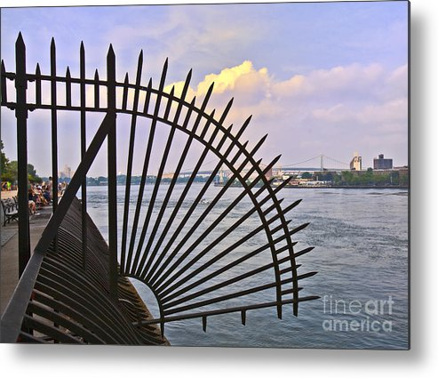 East River Metal Print featuring the photograph East River View Through The Spokes by Madeline Ellis