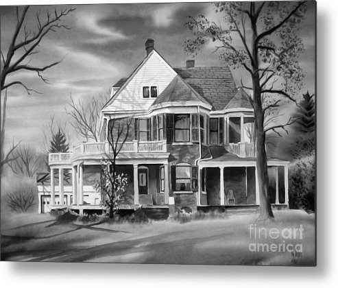 Grayscale Metal Print featuring the painting Edgar Home Bw by Kip DeVore